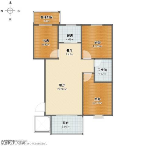阳光小区3室2厅1卫1厨97.00㎡户型图