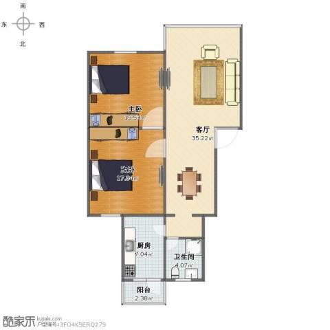 贵仁绿苑2室1厅1卫1厨90.00㎡户型图