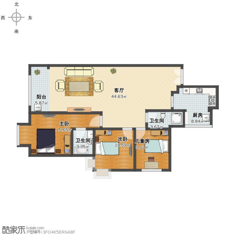 未知小区复制的方案_2212121户型3室1厅1卫2厨