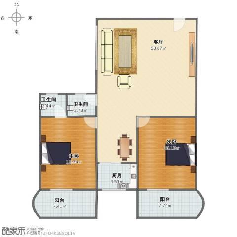 繁荣广场2室1厅1卫2厨126.00㎡户型图