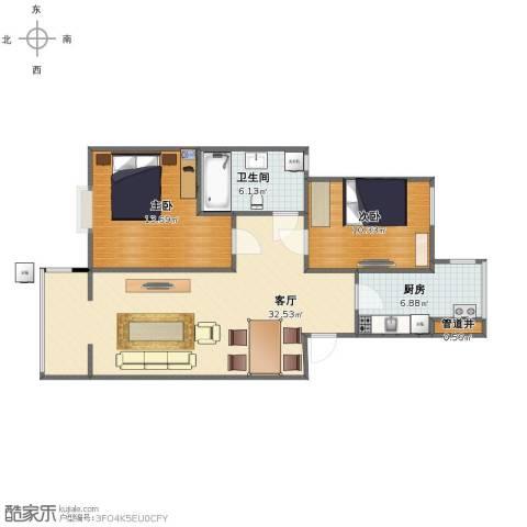 翠屏北里2室1厅1卫1厨78.00㎡户型图