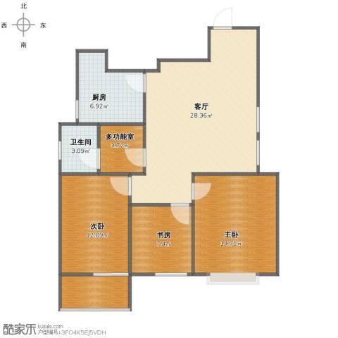 京东领秀城3室1厅1卫1厨89.00㎡户型图