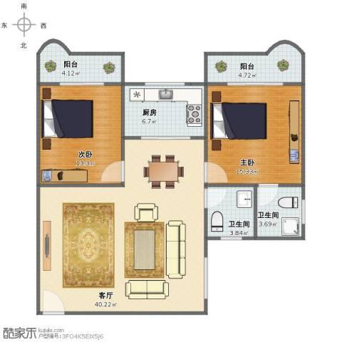 繁荣广场2室1厅1卫2厨101.00㎡户型图