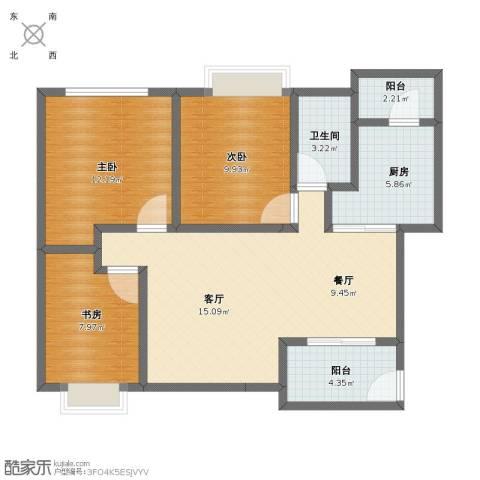 万科城市风景清华苑3室2厅1卫1厨84.00㎡户型图