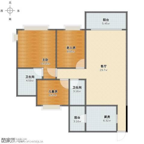 瀚华花园3室1厅1卫2厨90.00㎡户型图