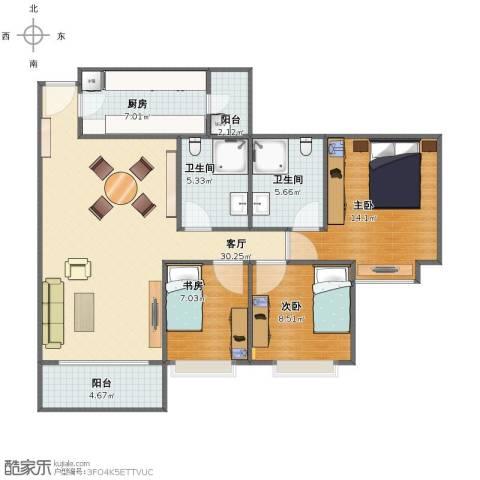 雍景豪园3室1厅1卫2厨94.00㎡户型图