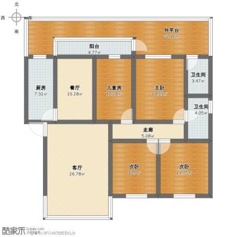 东岭桂园4室2厅1卫2厨162.00㎡户型图
