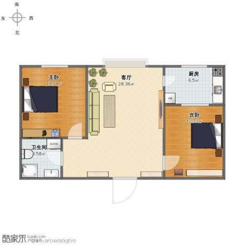 宽城2室1厅1卫1厨72.00㎡户型图