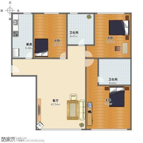 金玉源3室1厅1卫2厨136.00㎡户型图