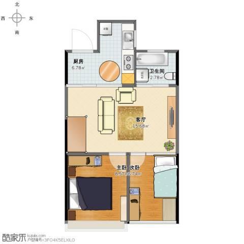 东湖御院2室1厅1卫1厨46.00㎡户型图