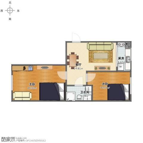 盛世闲庭2室1厅1卫1厨53.00㎡户型图