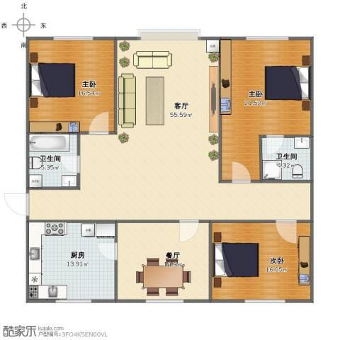 将军花园3室2厅1卫2厨160.00㎡户型图
