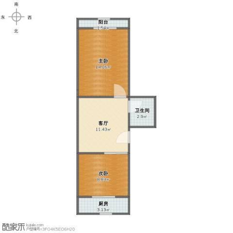水语春天2室1厅1卫1厨48.00㎡户型图