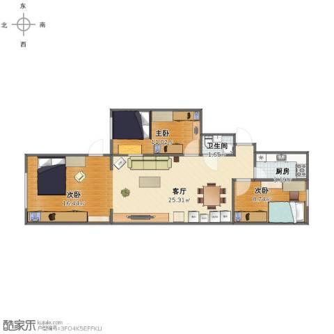 东营里3室1厅1卫1厨74.00㎡户型图