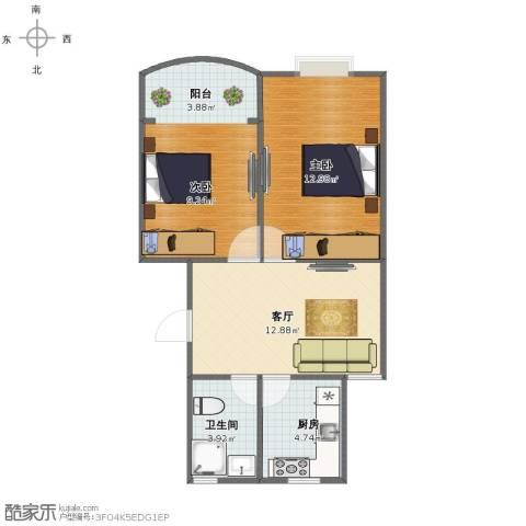 桂莘小区2室1厅1卫1厨53.00㎡户型图