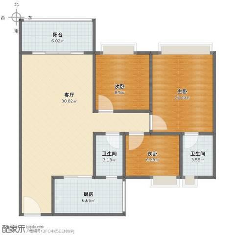 中澳世纪城3室1厅1卫2厨89.00㎡户型图