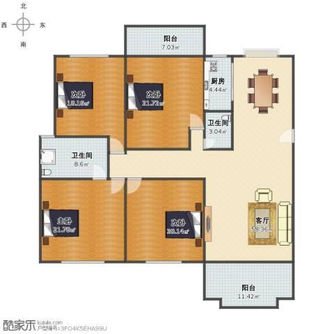 国贸花园4室1厅1卫2厨189.00㎡户型图