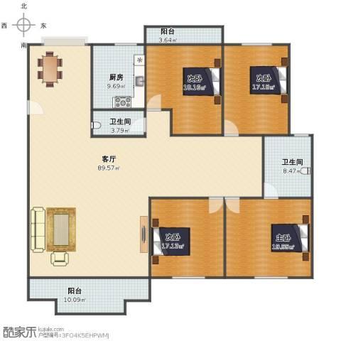 国贸花园4室1厅1卫2厨213.00㎡户型图
