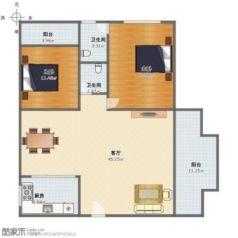 国贸花园2室1厅1卫2厨112.00㎡户型图