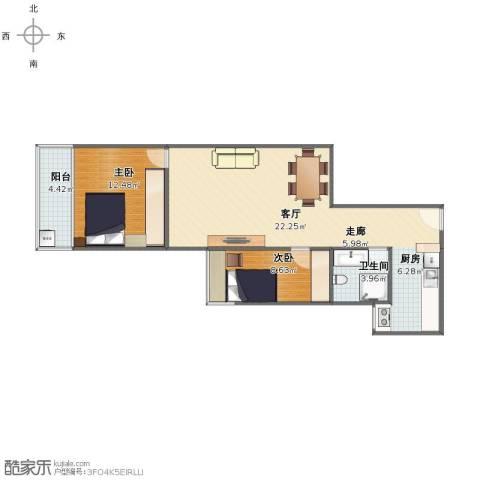 华天国际广场2室1厅1卫1厨71.00㎡户型图