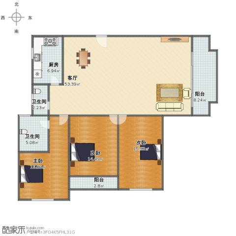 国贸花园3室1厅1卫2厨135.00㎡户型图