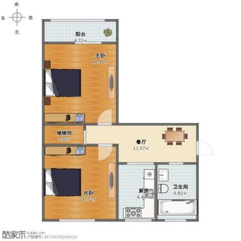 叙丰里2室1厅1卫1厨74.00㎡户型图