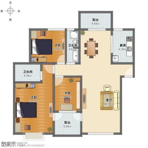金色池塘3室1厅1卫2厨124.00㎡户型图