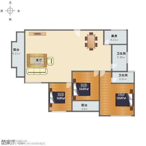 国贸花园3室1厅1卫2厨124.00㎡户型图