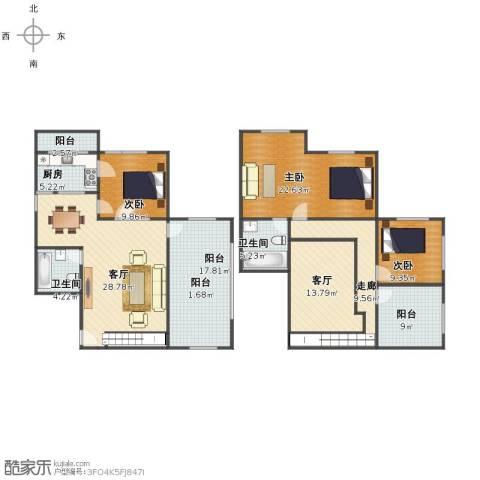 金丰花园3室2厅1卫2厨156.00㎡户型图