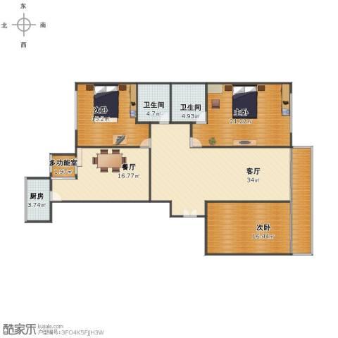 银行宿舍3室2厅1卫2厨139.00㎡户型图