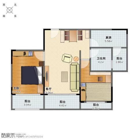 碧桂园生态城1室1厅1卫1厨76.00㎡户型图