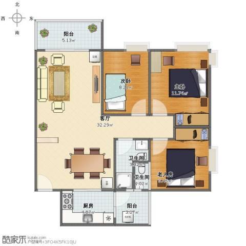 鹏达・丽水湾3室1厅1卫2厨88.00㎡户型图