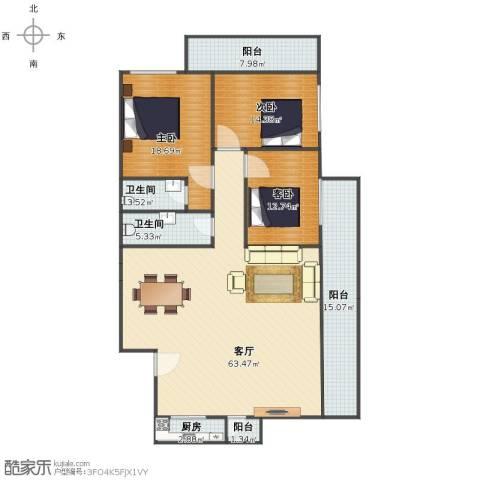 聚祥广场3室1厅1卫2厨158.34㎡户型图