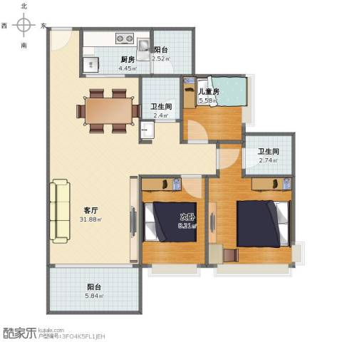 紫薇丽都2室1厅1卫2厨85.00㎡户型图