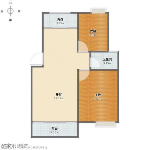 冠达・满庭芳2室1厅1卫1厨67.00㎡户型图