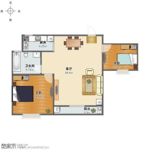 绿地太湖城别墅2室1厅1卫1厨78.00㎡户型图