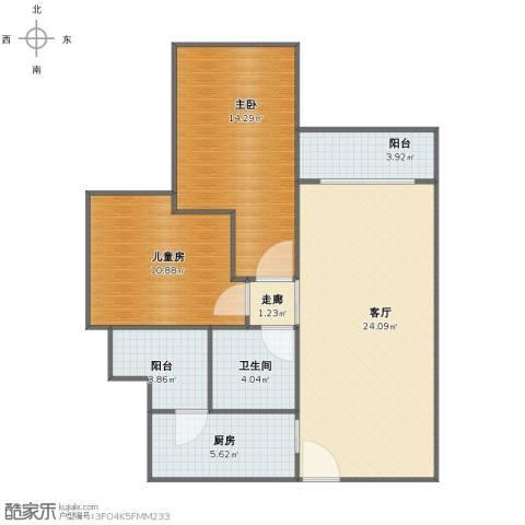 诺德名都2室1厅1卫1厨75.00㎡户型图