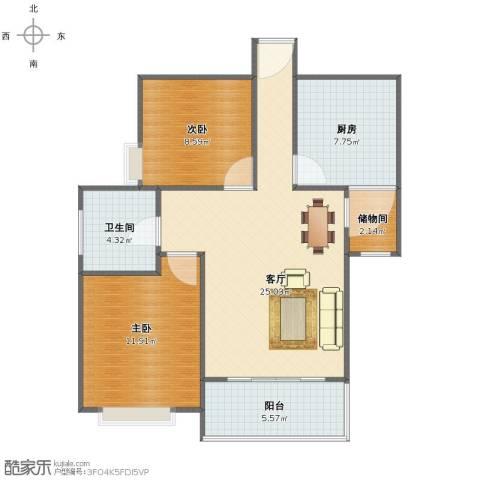 西江月2室1厅1卫1厨73.00㎡户型图