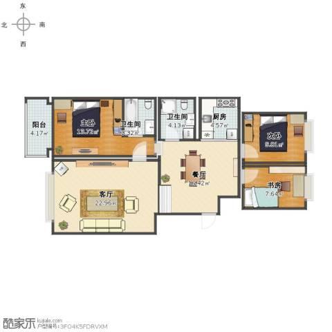 蓝波湾3室2厅1卫2厨98.00㎡户型图