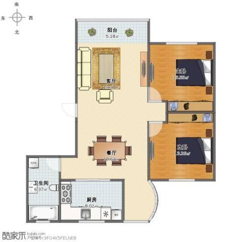 栖山苑2室2厅1卫1厨92.00㎡户型图