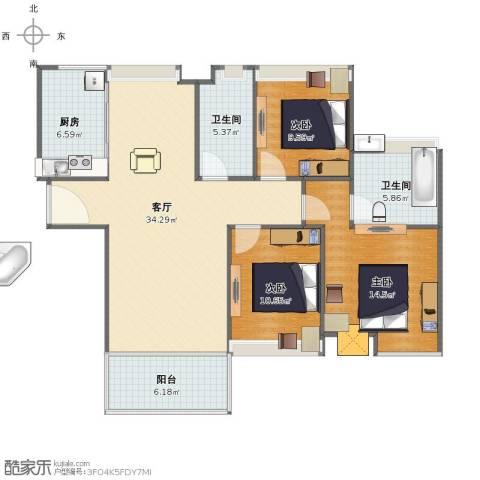 中海寰宇天下3室1厅1卫2厨103.16㎡户型图