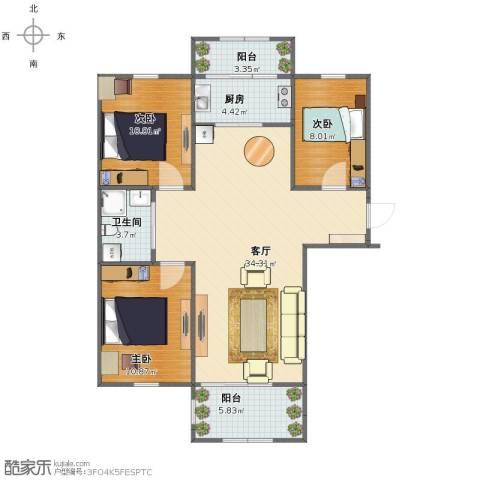 金湾山城3室1厅1卫1厨89.00㎡户型图