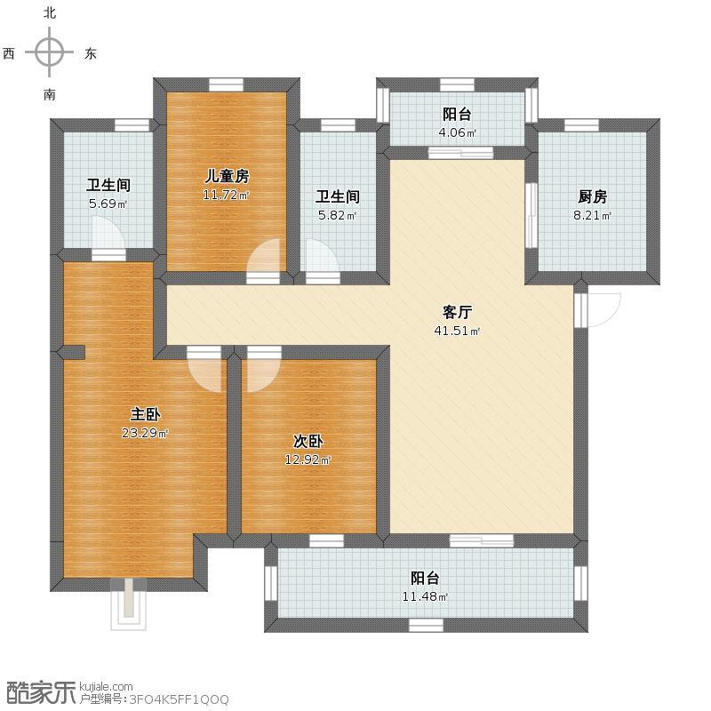 三室两厅户型图