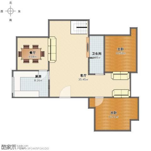 山南小镇2室2厅1卫1厨88.00㎡户型图