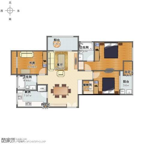 长河花园1室1厅1卫2厨111.00㎡户型图