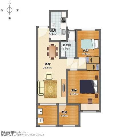 常发御龙山住宅3室1厅1卫1厨81.00㎡户型图