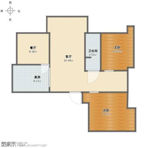 山南小镇2室2厅1卫1厨85.00㎡户型图