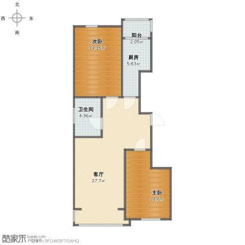 新浦家园2室1厅1卫1厨73.00㎡户型图