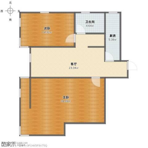 双港新家园之民盛园2室1厅1卫1厨90.00㎡户型图