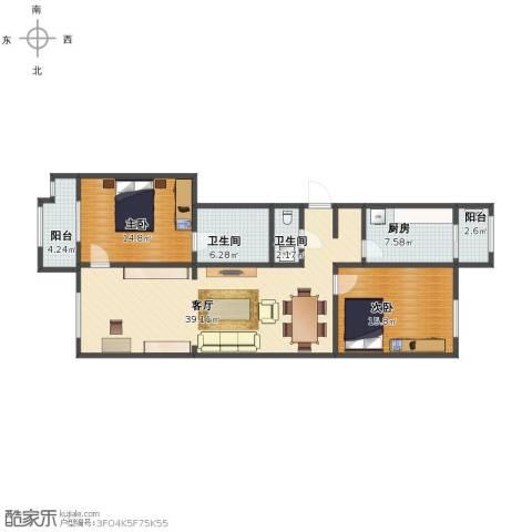 宝坻书香园2室1厅1卫2厨107.00㎡户型图